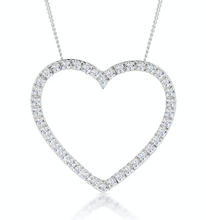 Heart Pendant Necklace 0.30ct Diamond 9K White Gold