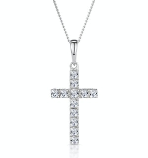 Cross Pendant 0.22CT Diamond 9K White Gold