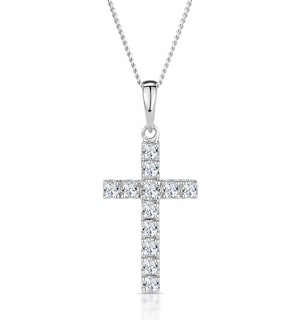 Cross Pendant Necklace 0.22CT Diamond 9K White Gold