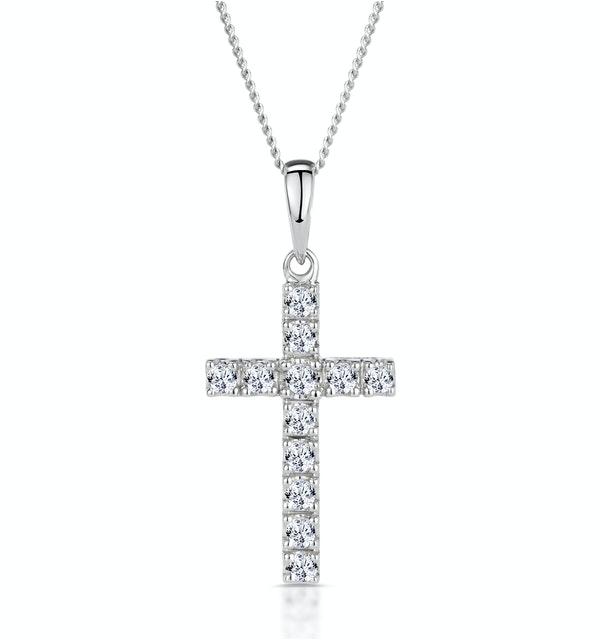 Cross Pendant Necklace 0.22CT Diamond 9K White Gold - image 1