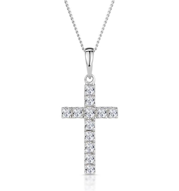 Cross Pendant 0.22CT Diamond 9K White Gold - image 1