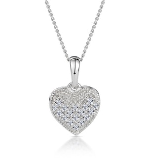Heart Pendant Necklace 0.09ct Diamond 9K White Gold