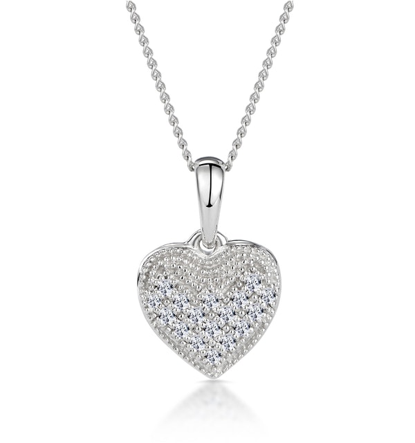 Heart Pendant Necklace 0.09ct Diamond 9K White Gold - image 1