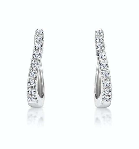 Hoop Earrings 0.11ct Diamond 9K White Gold - image 1