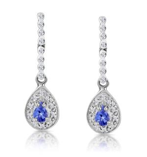 Tanzanite 0.28CT And Diamond 9K White Gold Earrings