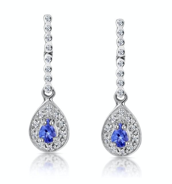 Tanzanite 0.28CT And Diamond 9K White Gold Earrings - image 1