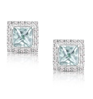 Aquamarine 1.90CT And Diamond 9K White Gold Earrings