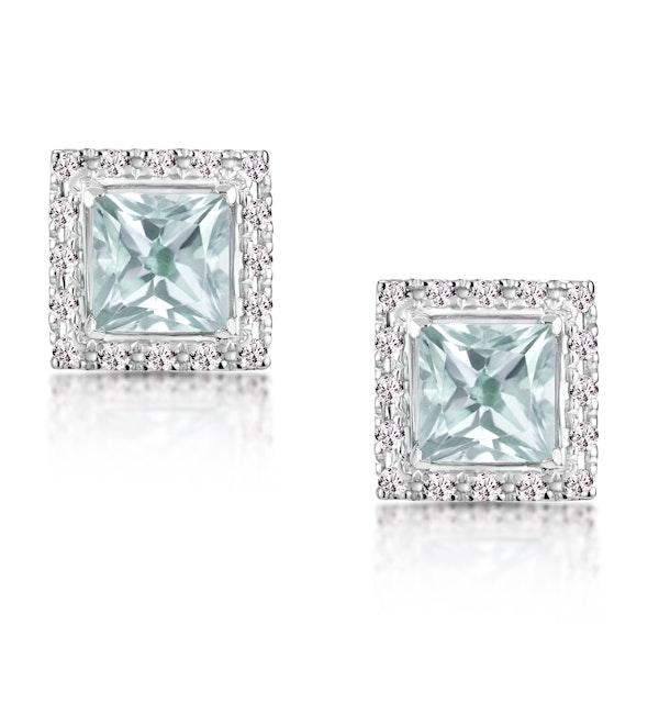 Aquamarine 1.90CT And Diamond 9K White Gold Earrings - image 1