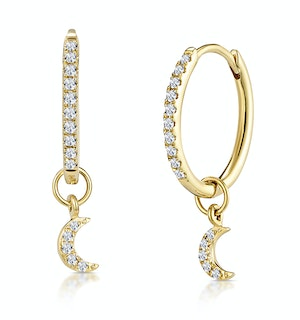 Stellato Diamond Encrusted Hoop Moon Charm Earrings 0.11ct in 9K Gold