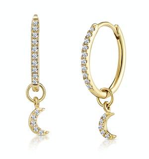 Stellato Diamond Encrusted Hoop Moon Charm Earrings 0.11ct in 9K Gold