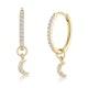 Stellato Diamond Encrusted Hoop Moon Charm Earrings 0.11ct in 9K Gold - image 1