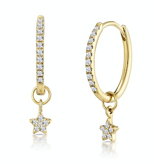 Stellato Diamond Encrusted Hoop Star Charm Earrings 0.12ct in 9K Gold