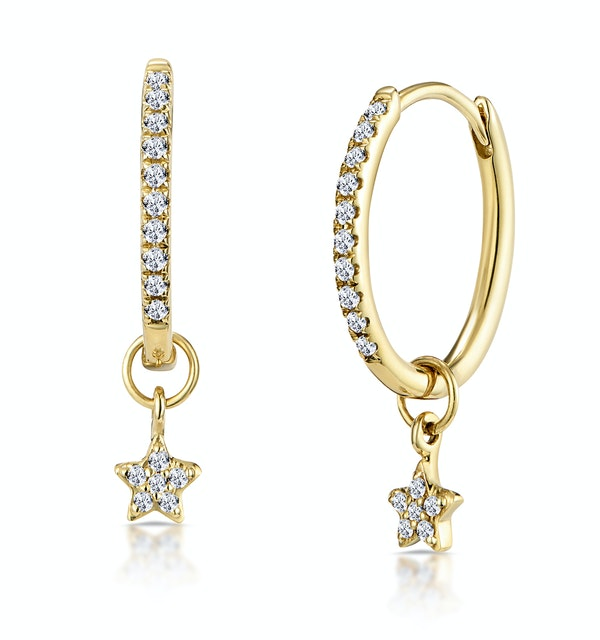 Stellato Diamond Encrusted Hoop Star Charm Earrings 0.12ct in 9K Gold - image 1
