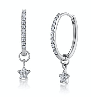 Stellato Diamond Encrusted Hoop Star Earrings 0.12ct in 9K White Gold