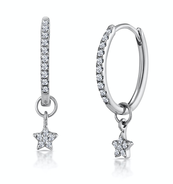 Stellato Diamond Encrusted Hoop Star Earrings 0.12ct in 9K White Gold - image 1