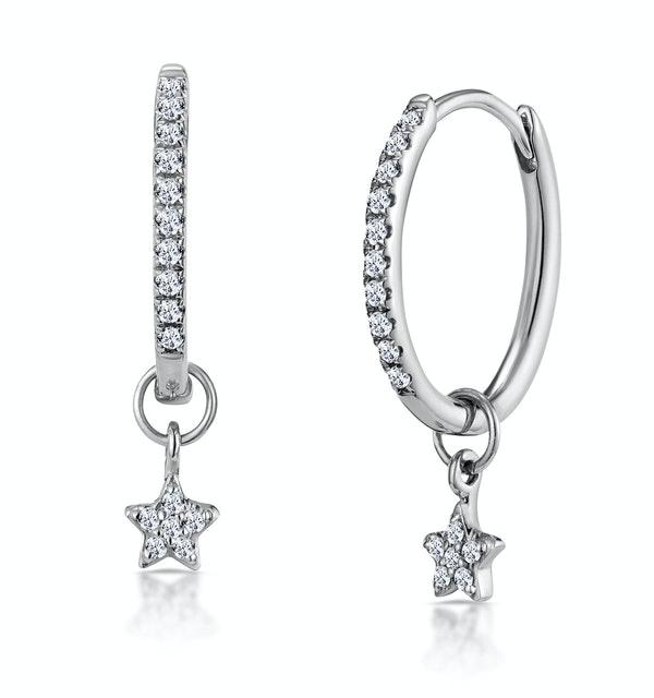Stellato Diamond Encrusted Hoop Star Earrings 0.12ct in 9K White Gold - image 1