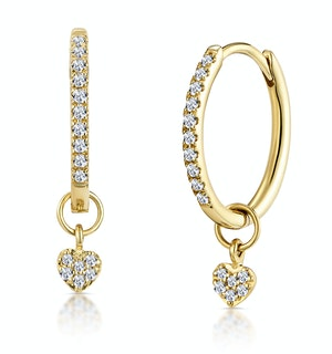 Stellato Diamond Encrusted Hoop Heart Charm Earrings 0.11ct in 9K Gold