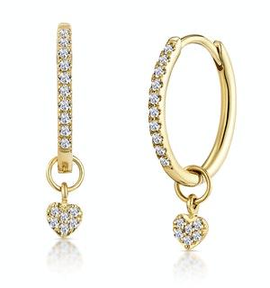 Stellato Diamond Encrusted Hoop Heart Charm Earrings 0.11ct in 9K Gold
