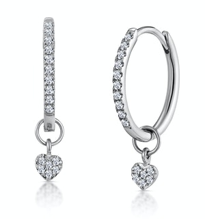 Stellato Diamond Encrusted Hoop Heart Earrings 0.11ct in 9K White Gold