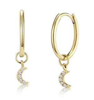 Stellato Diamond Moon Charm Hoop Earrings in 9K Gold
