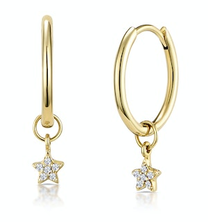 Stellato Diamond Star Charm Hoop Earrings in 9K Gold
