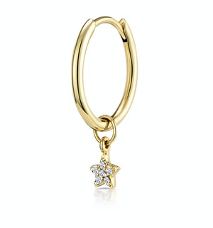 Single Stellato Diamond Star Charm Hoop Earring in 9K Gold