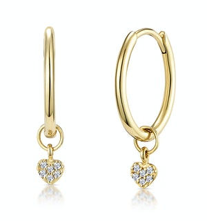 Stellato Diamond Heart Charm Hoop Earrings in 9K Gold