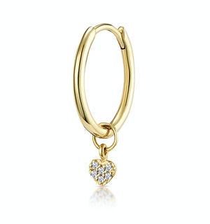 SINGLE Stellato Diamond Heart Charm Hoop Earring in 9K Gold