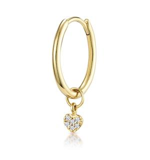 SINGLE Stellato Diamond Heart Charm Hoop Earring in 9K Gold