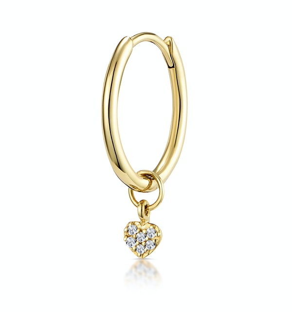 Single Stellato Diamond Heart Charm Hoop Earring in 9K Gold - image 1