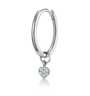 SINGLE Stellato Diamond Heart Charm Hoop Earring in 9K White Gold