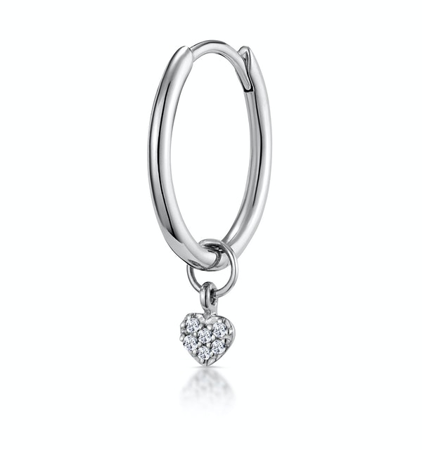 SINGLE Stellato Diamond Heart Charm Hoop Earring in 9K White Gold - image 1