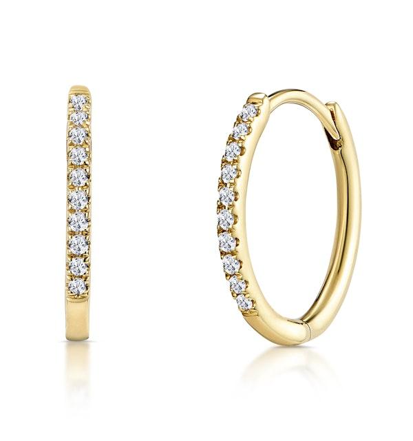 Stellato Diamond Encrusted Hoop Earrings 0.09ct in 9K Gold - image 1