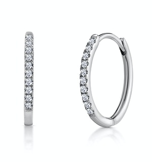 Stellato Diamond Encrusted Hoop Earrings 0.09ct in 9K White Gold