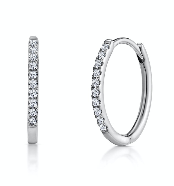 Stellato Diamond Encrusted Hoop Earrings 0.09ct in 9K White Gold - image 1