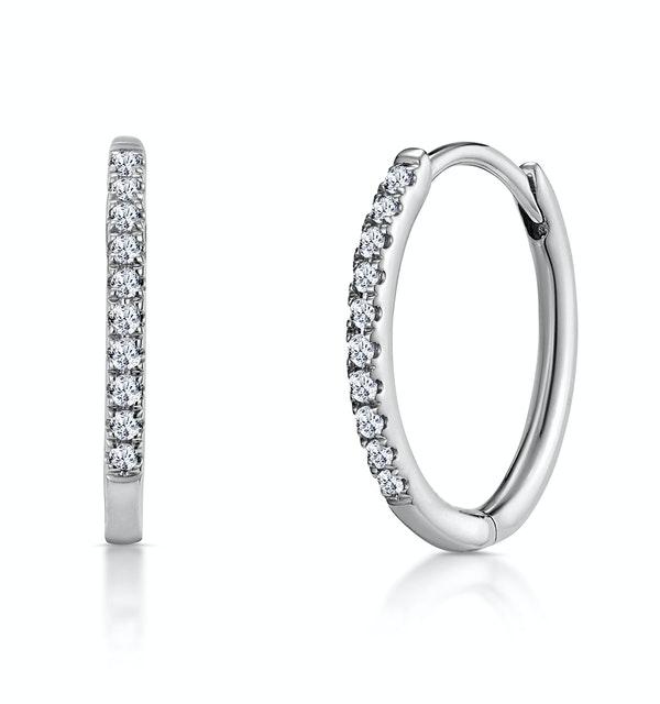 Stellato Diamond Encrusted Hoop Earrings 0.09ct in 9K White Gold - image 1
