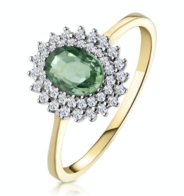 Green Sapphire 7 x 5mm And Diamond 9K Yellow Gold Ring - image 1