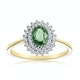 Green Sapphire 7 x 5mm And Diamond 9K Yellow Gold Ring - image 2