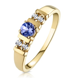 Tanzanite 3.75mm And Diamond 9K Gold Ring