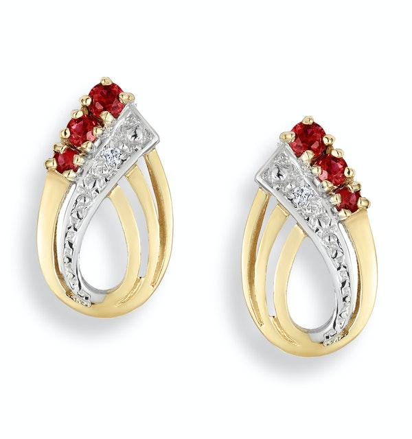Ruby 0.10CT And Diamond 9K Yellow Gold Earrings - image 1