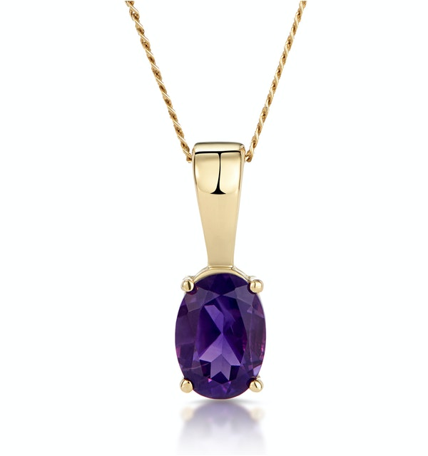 Amethyst 7 x 5mm 9K Yellow Gold Pendant Necklace - image 1