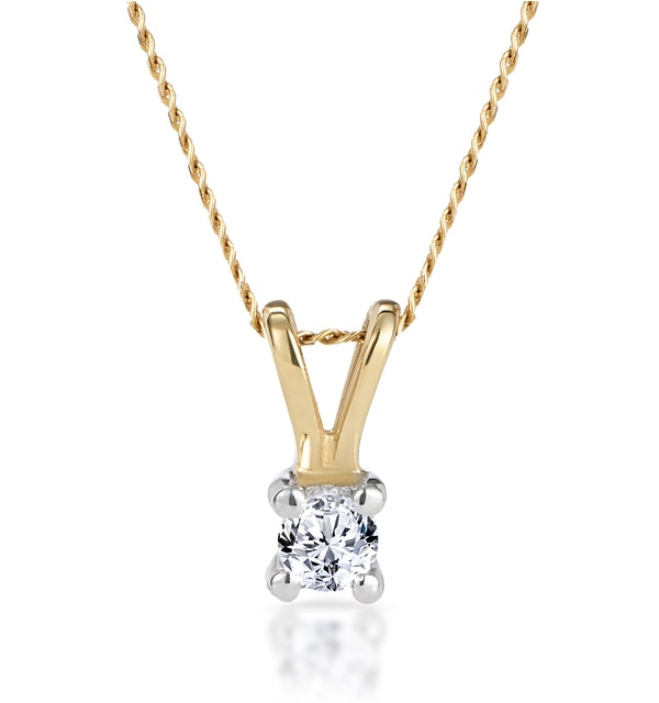 Diamond Solitaire Necklace 0.10CT Diamond 9K Yellow Gold - image 1