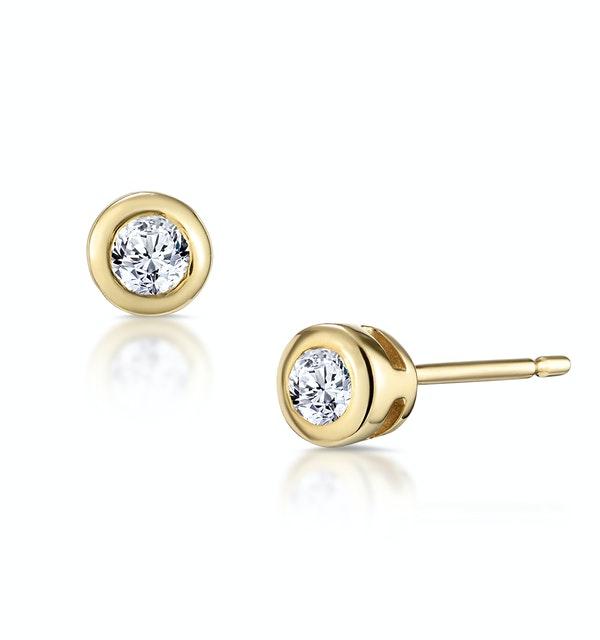Stud Earrings 0.10CT Diamond 9K Yellow Gold - image 1