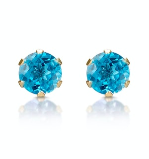 Blue Topaz 4mm 9K Yellow Gold Stud Earrings