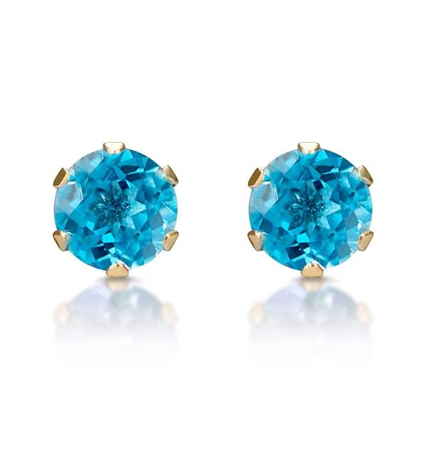 Blue Topaz 4mm 9K Yellow Gold Stud Earrings - image 1