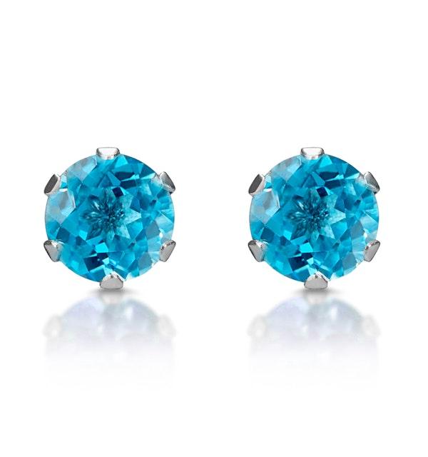Blue Topaz 4mm 9K White Gold Stud Earrings - image 1