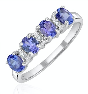 Tanzanite 0.76CT And Diamond 9K White Gold Ring
