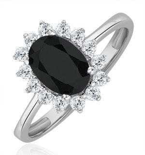Sapphire 0.90ct And Diamond 9K White Gold Ring