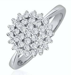 Diamond Cluster Ring 0.50ct Set In 9K White Gold