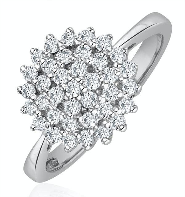 Diamond Cluster Ring 0.50ct Set In 9K White Gold - image 1